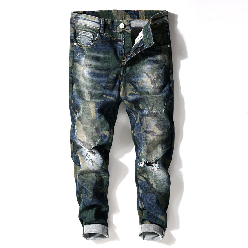 MORUANCLE Fashion Mens Ripped Camouflage Jeans Pants Streetwear Distressed Straight Camo Denim Trousers For Man Size 28-36