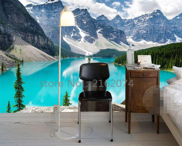 Beibehang Snow Mountain Lakeview Wallpapers 3D Large Mural Living Room Background Customize any size photo wallpaper murals