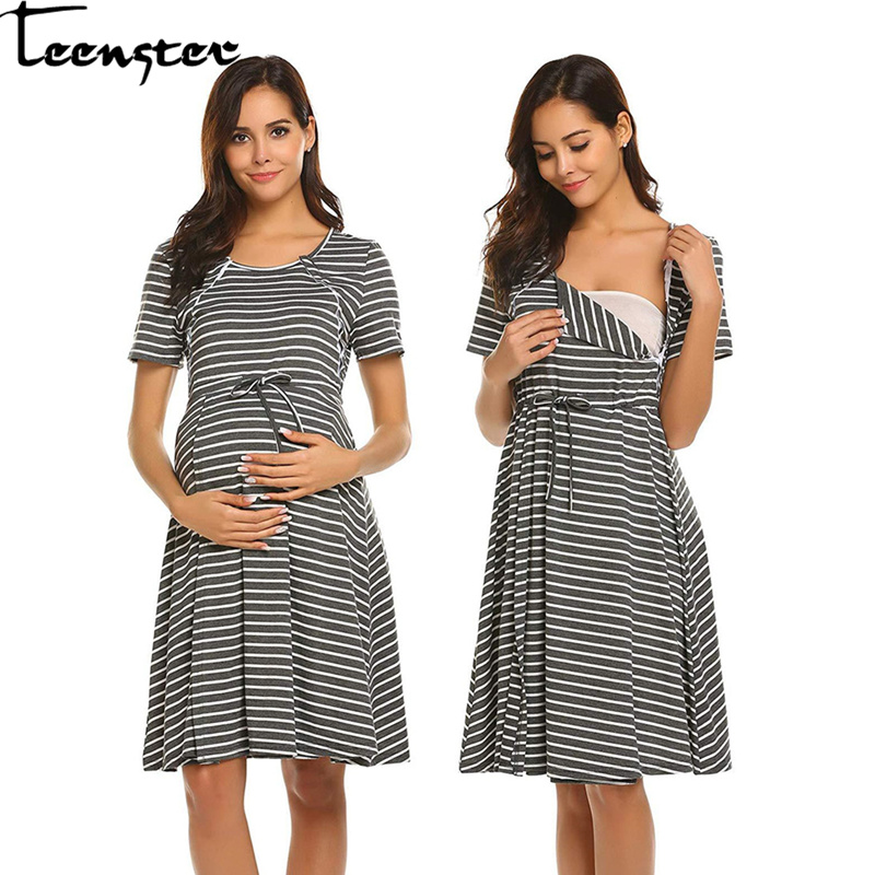Teenster Summer Maternity Dress Stripes Short Sleeve Nursing Dresses For  Pregnant Women Breastfeeding Casual Clothes Premama