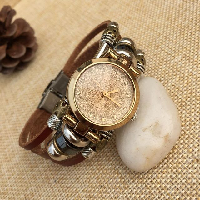 2018 New Fashion Women Leather Bracelet Watch Women Dress Watches Vintage Quartz