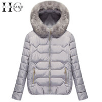 HEE GRAND 2016 Thick Down Mulheres Casaco De Inverno Warm Cotton Fur Hooded Women Parkas Short