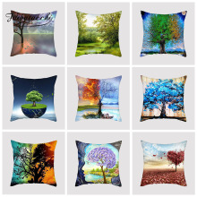 Fuwatacchi Contrast Color Plant Cushion Cover Fantasy Tree Printed Pillow For Car Home Sofa Bed Decorative Pillowcase