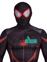 Free Shipping DHL NEW 3D Printed Red Black Miles Morales Civil War Spiderman Superhero Costume For