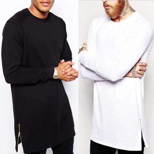 2018 New Fashion Hot Popular Men's Plain Cotton Crew Neck Long Sleeve Basic   T     Shirt   Tee Top Black White S-2XL