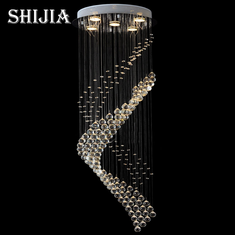 new round LED Crystal Light modern crystal chandelier hang lamp for room/hotel/staircase Dia50*H150cm
