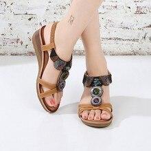 Fahion Rhinestone Bohemian Women Sandals Shoes Wedges Elastic Band Open Toe Breatheable Beach Chaussures