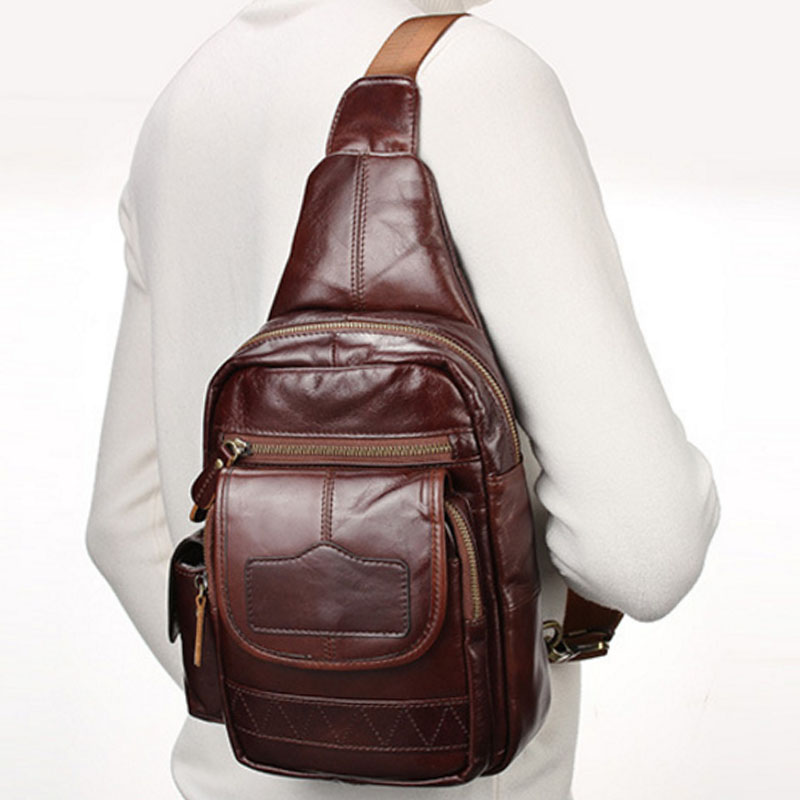 Men s Leather Cowhide Sling Chest Pack Cross Body Bags Single Shoulder Bag Travel Climbing Riding