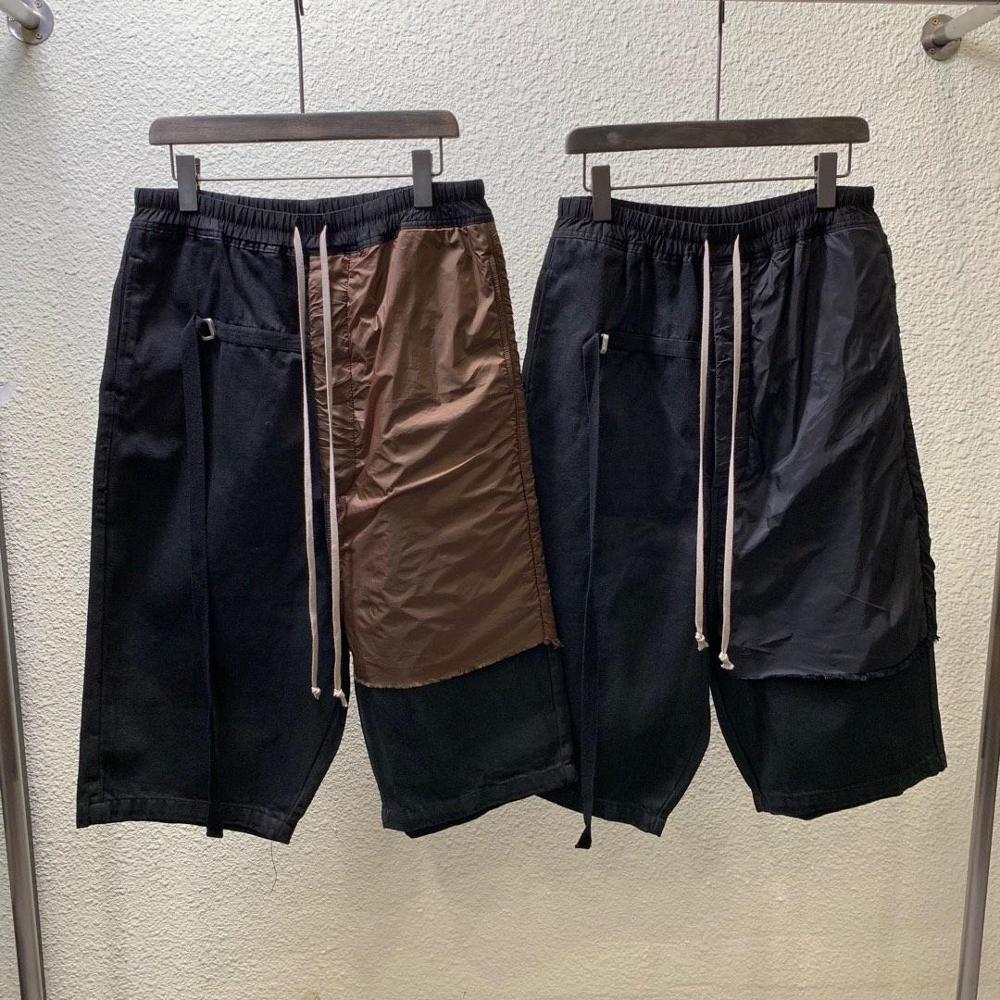 20ss Owen Seak Men Casual Harem Pants Gothic Men's Oil Wax Denim Sweatpants Summer Women Calf-Length Pant Loose Black Pants