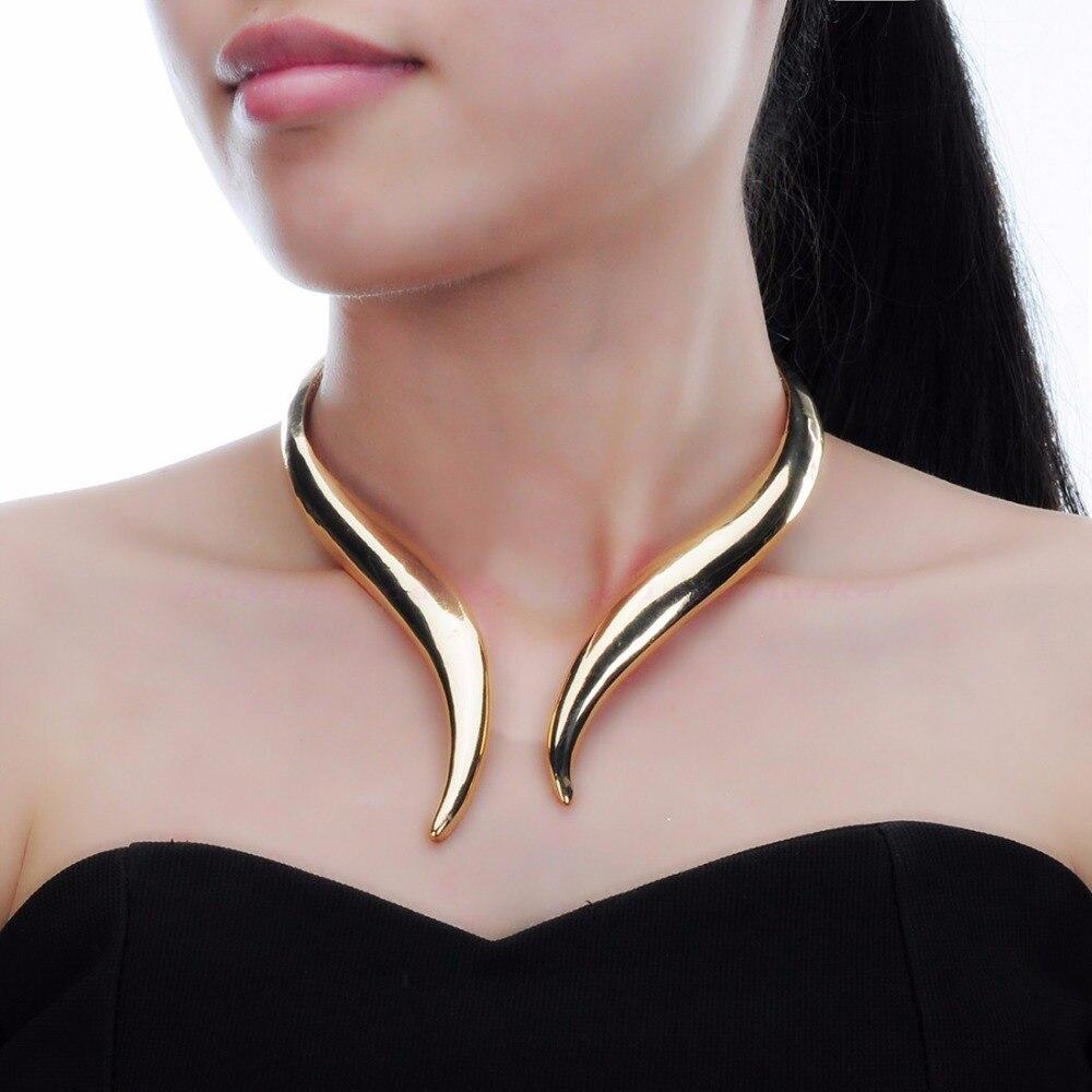 Punk Gothic Choker Necklace Statement Bib Gold Silver Fashion Jewelry New Metal Chunky Chokers Necklace Maxi Jewelry Fashion