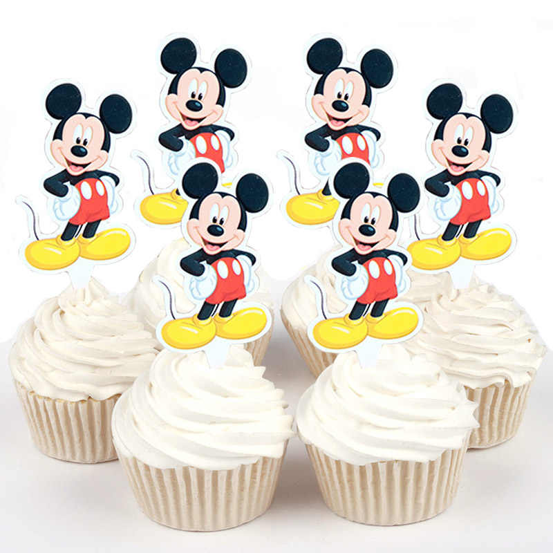 50pcs Cute Mickey Mouse Ariel Sophia Winnie the pooh Paper Cupcake topper for cake decoration birthday wedding party suppliers