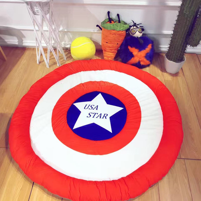 Cute Kids Room Play Game Rugs Baby Crawling Sleeping Mats Captain America/Bear Cartoon Cotton Pad Carpets for Livingroom Bedroom