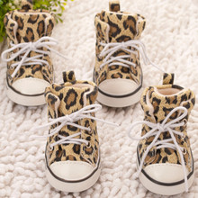 4 teile/satz Pet Stiefel Casual Leopard Leinwand Hund Anti-slip Schuhe Stiefel Teddy Small Medium Large Hunde Turnschuhe Booties(China)