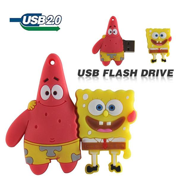 Pendrive de 4GB, 8GB, 16GB, 32GB, 64GB, unidad Flash USB, lindo Bob Esponja, Patricio, unidad de lápiz de dibujos animados creativa