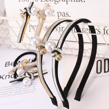 Pearl and Diamond Headband Top Knot Hair Band Bow Clips for Women with Crystal Rhinestone Accessories Hairband Elastic