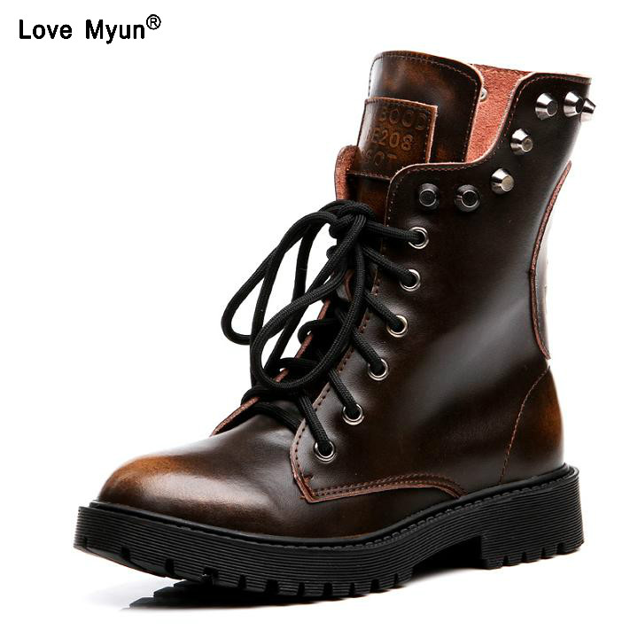 2019 spring and autumn Genuine leather short boots riveted short boots retro student boots Martin women boots rft67
