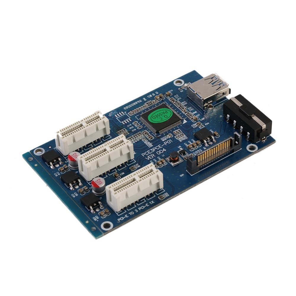 Prix pour PCI-e-Express-1X-to-3-Port-1X-Switch-Multiplier-HUB-Riser-Card-USB-Cable-1PC PC Périphériques Excellente