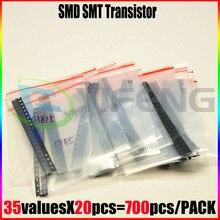 700 PCS SOT 23 SMA 35ค่า * 20ชิ้น = 700ชิ้น/ล็อตSMD SMT NPN PNPทรานซิสเตอร์และdiode Assortmentชุด