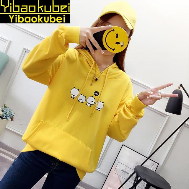 2018 Musim Gugur Baru Wanita Korea Pakaian Blackpink Hoodie Kangaroo Saku  Panda Cetak Sweatshirt Lengan Panjang 5cd913f131