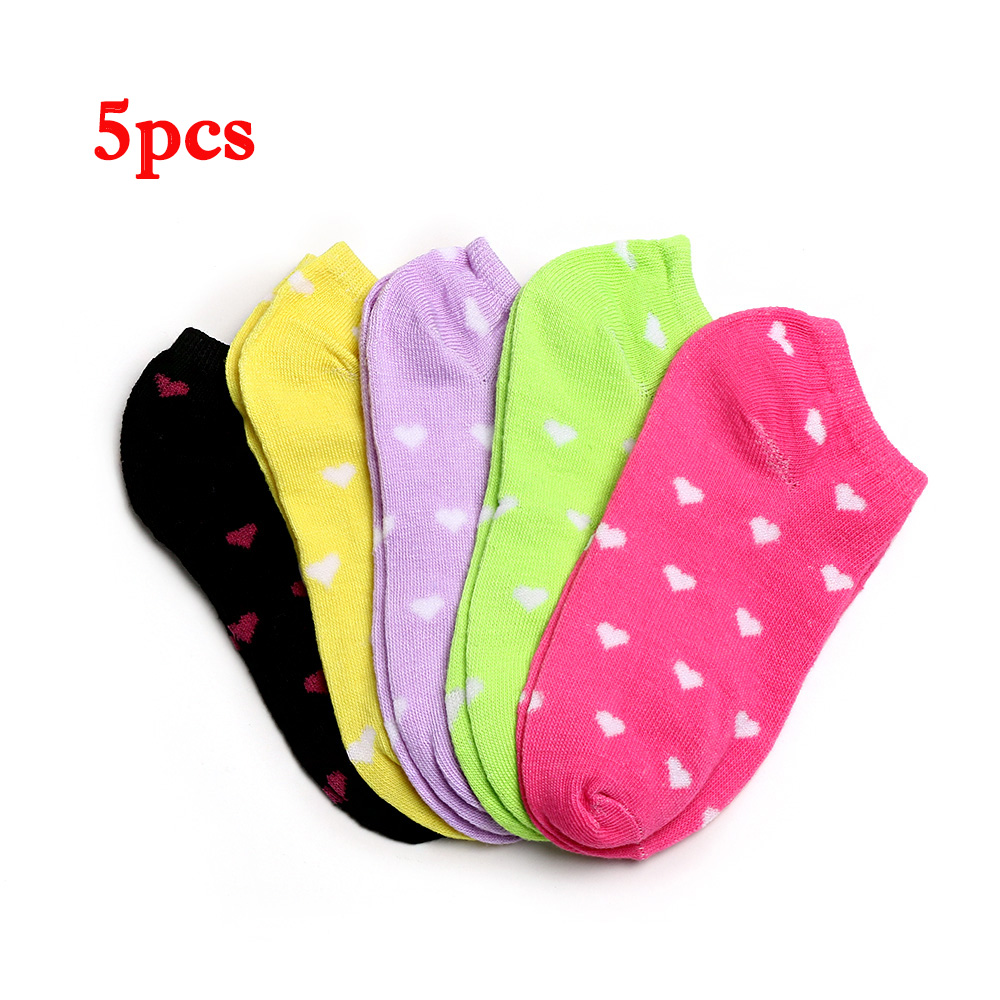 5 Pairs/Pack Color Random Women Lady Casual Cute Heart Printed Ankle High Low Cut Cotton Short   Socks
