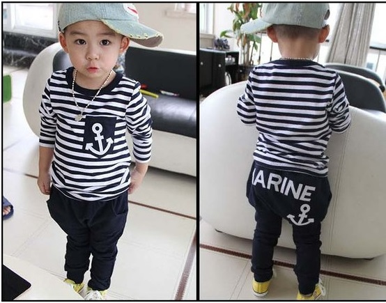 Kid Boy Clothes 2Pcs Set Marine Navy Sailor Boys Outfits Summer T-shirts Trousers Set Stripe Boy Sweatshirts Pant Suit 3-7Y