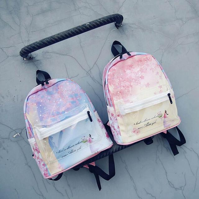 Fresco da lona das mulheres mochila 2016 nova moda new Coréia meninas impressão mochilas escolares casuais estilo preppy mochila senhoras, LB2462