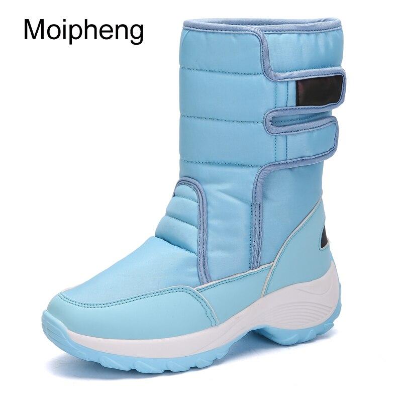 Ayakk.'ten Diz Altı Çizmeler'de Moipheng Kış Orta Buzağı Kadın Çizmeler Moda Sıcak Bayanlar Rahat Kar Botları Su Geçirmez kaymaz Peluş Çevirmeli üzerinde Kelepçeli Ayakkabı'da  Grup 1