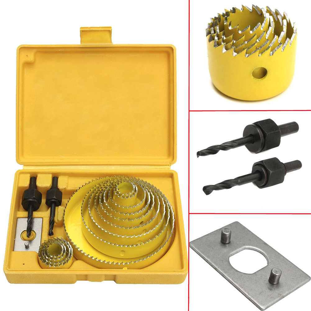 16Pcs Carbon Steel 13 Hole Saw Set 19-127mm Woodworking Metal Cup Saw Wood Cup Saw Cutting Tool-KK