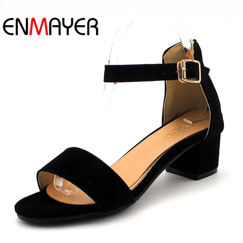 ENMAYER Flock Buckle Strap Summer Shoes Women Round Toe Square Heels Solid Pumps Casual Dress Zipper Woman Sandals Size33-47 xiaying smile woman sandals shoes women pumps summer casual platform wedges heels buckle strap flock hollow rubber women shoes