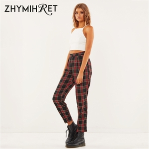 Image 3 - ZHYMIHRET  2020 Autumn Cotton Straight Plaid Womens Pants  Ankle Length Zipper Capris Casual Mid Waist Trousers Pantalon Femme