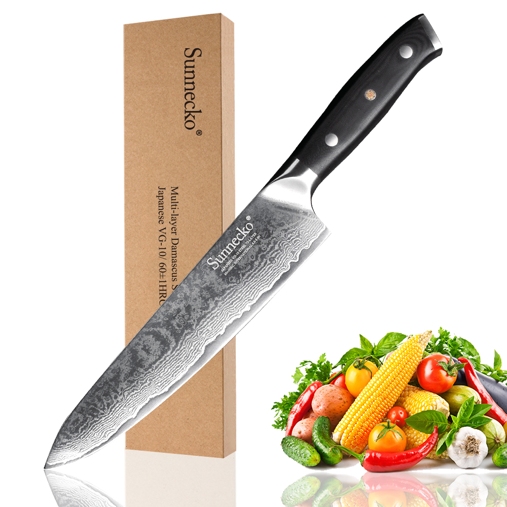 SUNNECKO 8 inch Chef Knife Damascus Steel Japanese VG10 Blade Kitchen Knives Sanding G10 Handle Sharp