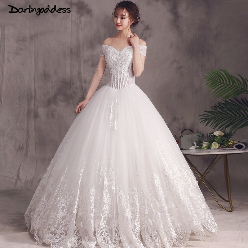 Us 12468 30 Offdarlingoddess Vestidos De Novia 2018 Ball Gown Wedding Dresses Lace Corset Luxury Crystals Bridal Gowns Vestido De Noiva Luxuoso In