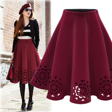 Women's Fashion A-Line Solid Color Hollow Out Knee Length Pleated Skirt One Size