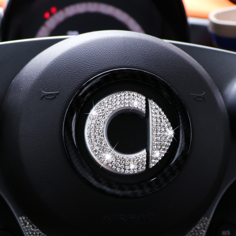 Personalized Flash Drill Logo Steering Wheel Decal For Mercedes Smart Fortwo Forfour 453 451 Car Decoration Sticker Accessories