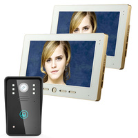 2 Monitors 10 Video Door Phone Intercom Doorbell Touch Button Remote Unlock Night Vision Security CCTV Camera Home Surveillance