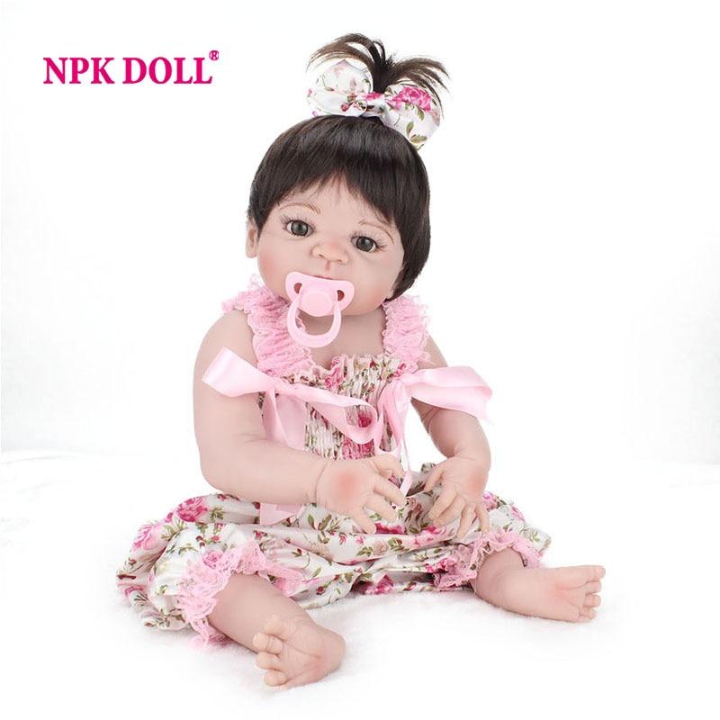 NPKDOLL 22 дюймов Кукла Reborn полный виниловые Младенцы Куклы для девочек 55 см реалистичные мягкие жив Reborn Baby Doll для дети Playmate