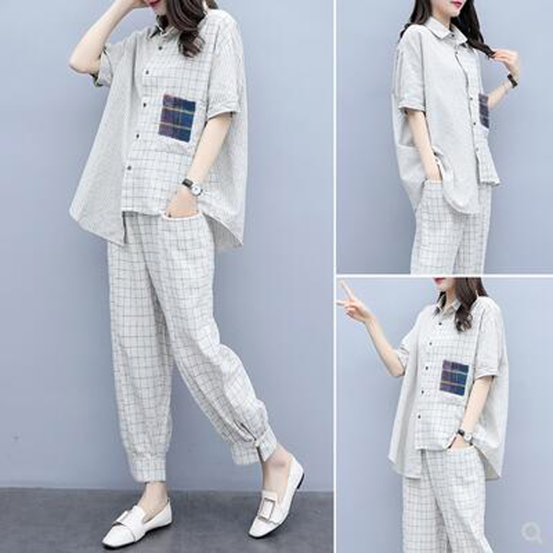 Plaid 2 Piece Set Outfits for Women Fashion Matching Co-ord Set Plus Size Top and Pant Suits 2019 Summer Designer White Clothing