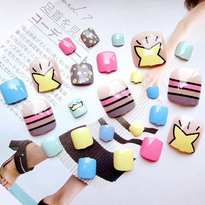 24Pcs Beauty Colorful Tips Full Cover False Thumb Toe Fake Nails Manicure Tools