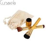 3pcs Makeup Brushes Set Goat Hair Professional Brown Makeup Brush Foundation Powder Blush Eyeliner Brushes