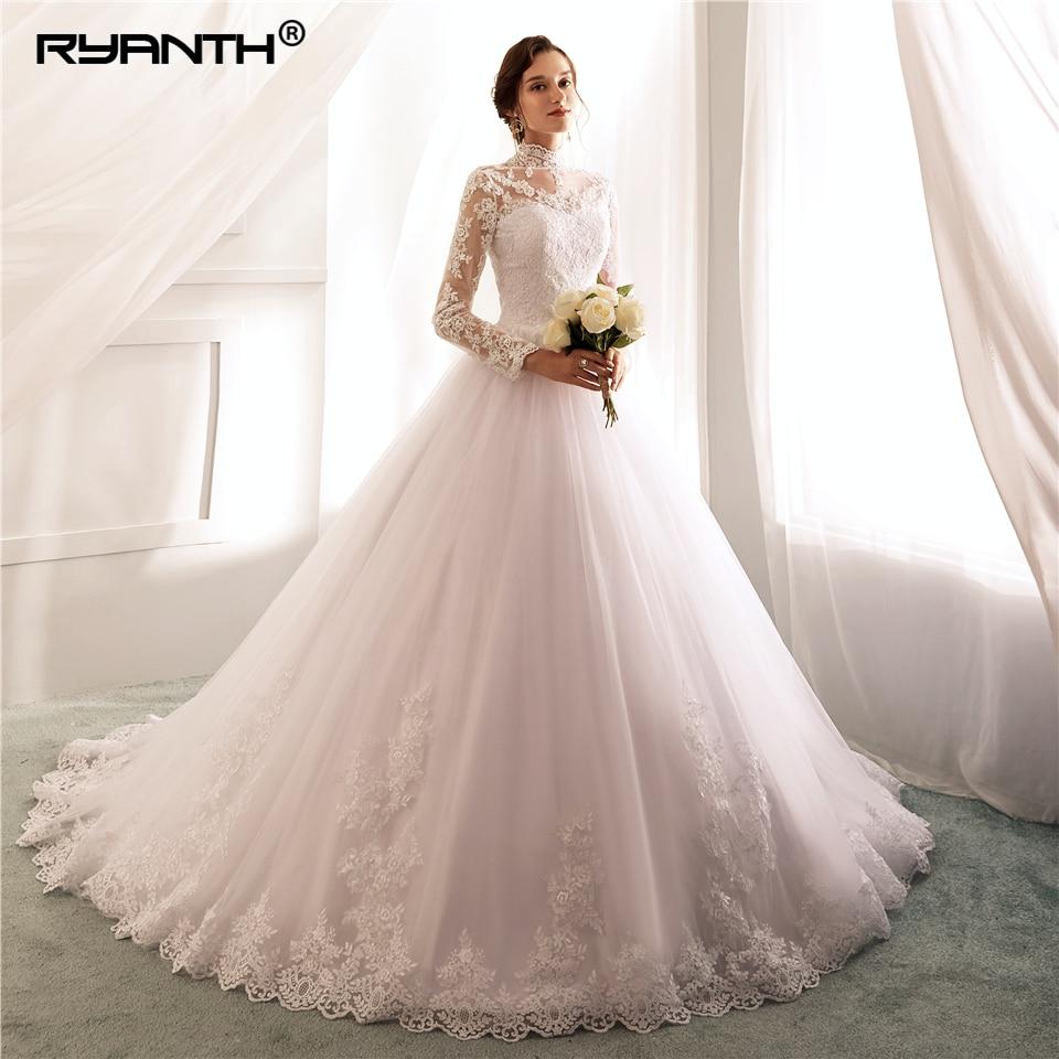 Vestido De Noiva 2019 New Arrival High Neck Long Sleeve Lace Wedding Dress Custom Made Robe