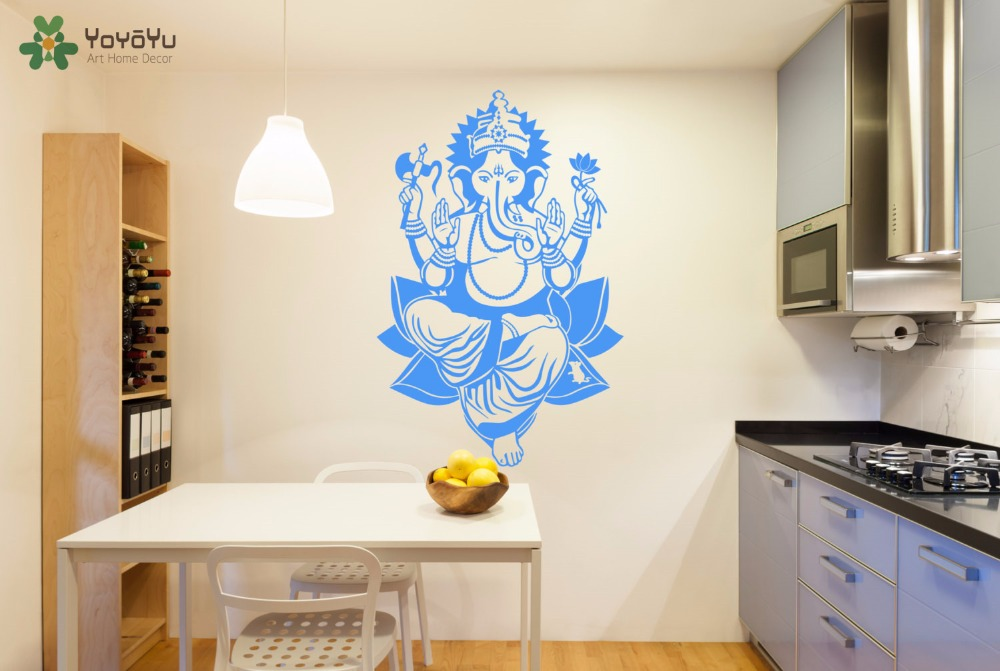 YOYOYU Wall Decal Buddha Elephant Vinyl Wall Sticker Hindu God Home Decor Lord Ganesh Art Mural Removable Interior Yoga DIYSY537 in Wall Stickers from Home Garden
