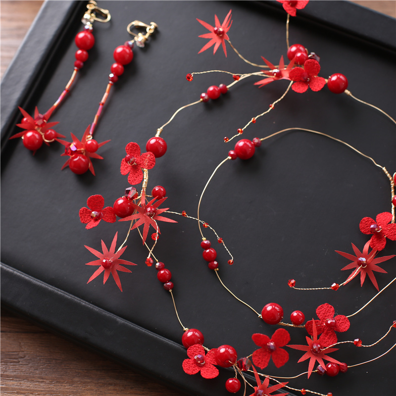 Hot Sale Red Flower Crystal Pearl Bridal Hair Accessories Bridal Wedding Headband Tiara Wedding Hair Accessories Hair Jewelry in Hair Jewelry from Jewelry Accessories