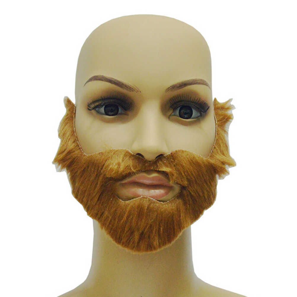Nova 1 Pcs Brown Homens Falso Barba Bigode Barba Halloween Adulto Com Elastic Band Festival Fontes Do Partido Adulto Mordaça Brinquedos
