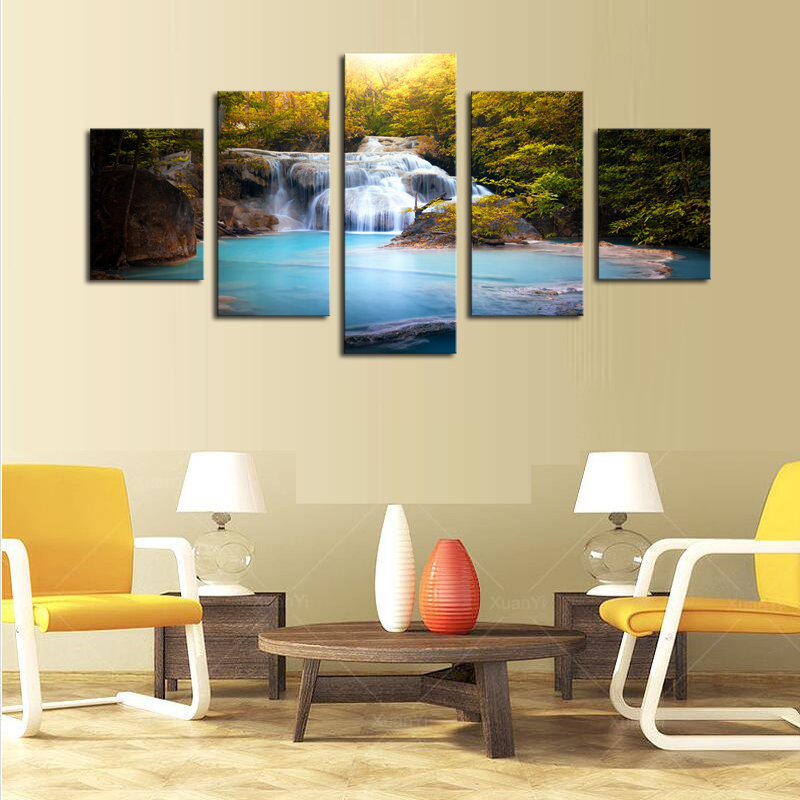 5 Panels(No Frame)Falls Creek Picture Modern Wall Decor Print on ...