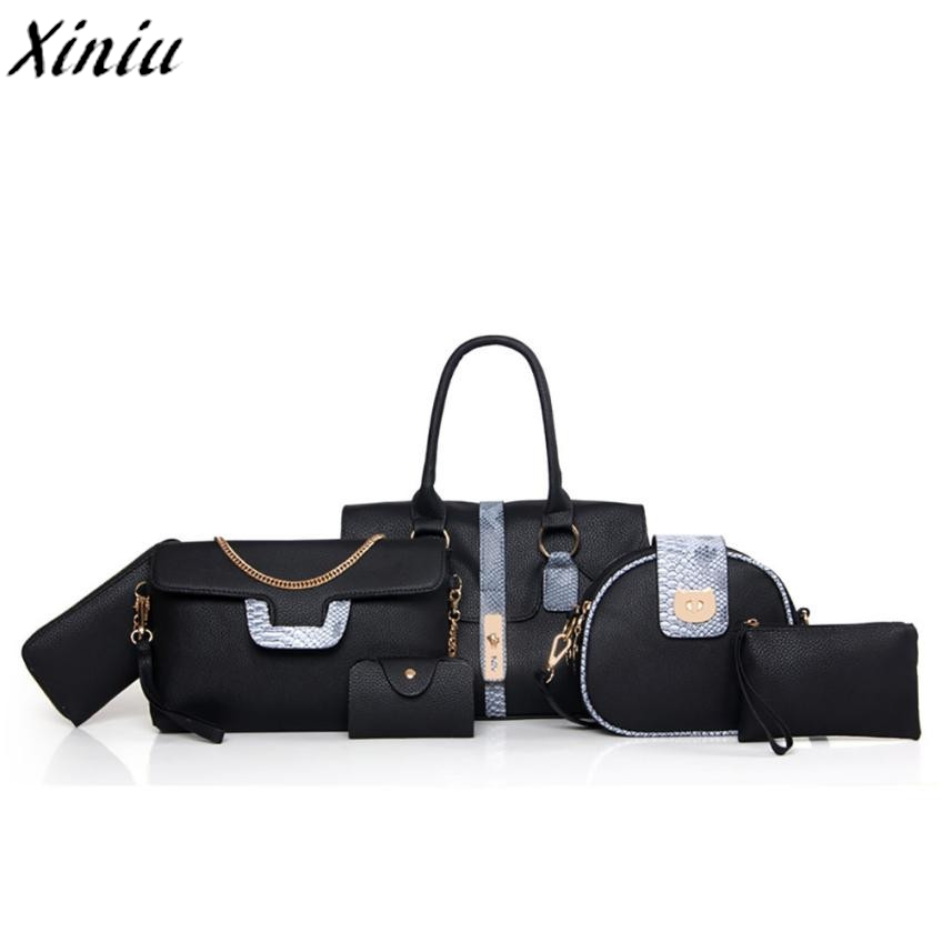 set of bags Multi-purpose Leather Handbag Soft Offer PU Leather bags Zip Vintage messenger bag Sac A Main Femme De Marque *7720 pu leather metal multi zips handbag