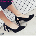 VINLLE 2017 Women Pumps High Heel Genuine Leather OL Shoes Western Style Slip on PU Pointed Toe Pumps Wedding Shoes Size 34-39