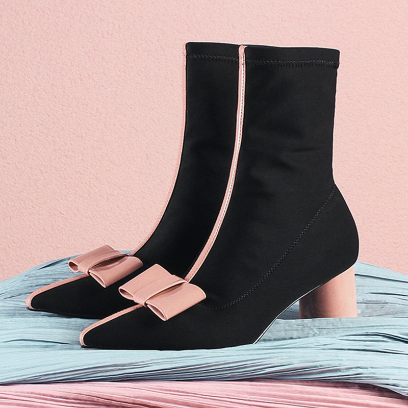 Pointy Toe Shoes Woman Slip-on Stretch Motorcycle Boots Bow-knot Sexy Thick Heels Sock New Short Booties Pink Party Botas Shoes