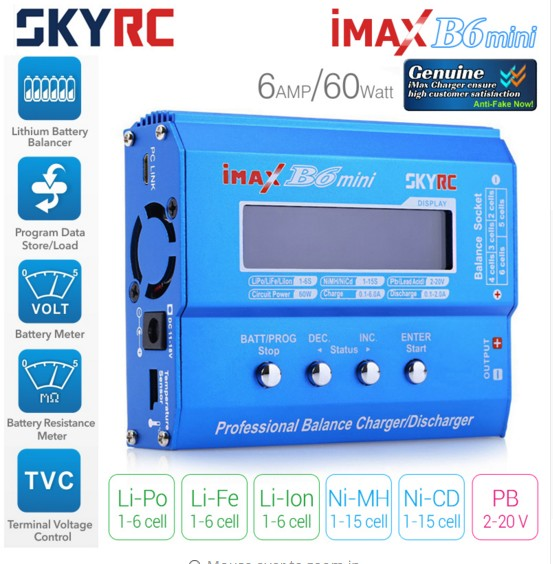 Original SKYRC IMAX B6 MINI 60W Balance RC Charger/Discharger For RC Helicopter nimh nicd Aircraft Intelligent Battery Charger
