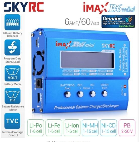 Original SKYRC IMAX B6 MINI 60 W Balance RC Cargador/descargador para RC helicóptero nimh nicd aviones batería inteligente cargador