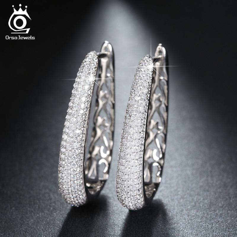 ORSA JEWELS Luxury Silver Color Hoop Örhängen Paved med AAA - Märkessmycken - Foto 4