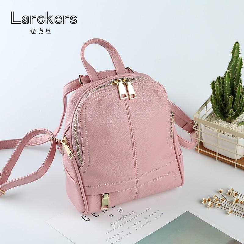 Zipper small size shell ladies backpack delicate thread pu softback solid fashio